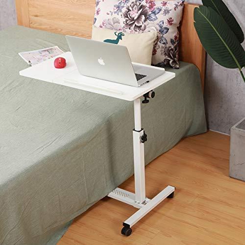 TigerDad Rolling Laptop Table Rolling Laptop Desk with Wheels Rolling Laptop Stand Adjustable Overbed Bedside Table Overbed Desk(White)