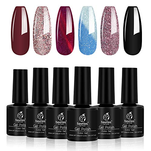 Beetles Supernova Gel Nail Polish Set - 6 Pcs Gel Polish Glitter with 3D Cat Eye Galaxy Nail Gel Temperature Color Changing, Soak Off UV LED Required, 7.3ml Each Bottle, Gel Nail Art Manicure Gifts