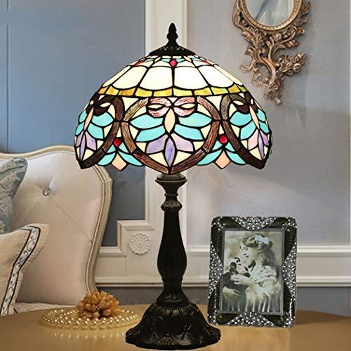 Lámpara de mesa de estilo Tiffany Mar Azul Lámparas de mesa de estilo barroco Vidrio de color hecho a mano Lámpara de escritorio Diámetro 30 cm, 110-240 V