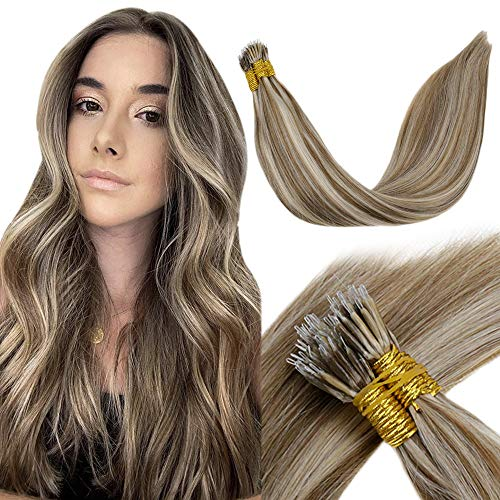 LaaVoo Nano Link Hair Extensions Human Hair Highlight Light Brown Mixed with Golden Blonde Real Remy Brazilian Hair Extensions Straight Link Hair Extensions Nano 14 Inch 1g/strand 50g