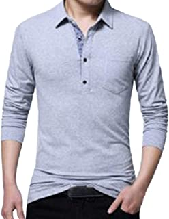 Mens Cotton T-Shirt Spring Casual Blouse Fashion Long Sleeved Lapel Button Tops