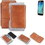 K-S-Trade® Schutz Hülle Für Allview P6 Lite Gürteltasche Gürtel Tasche Schutzhülle Handy Smartphone Tasche Handyhülle PU + Filz, Braun (1x)