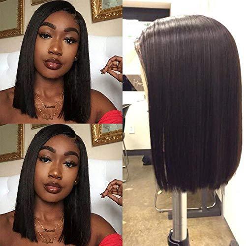 Human Hair Lace Front 13x4 Wigs Bob 12 Inch 130 Density Brazilian Virgin Human Hair Short Bob Wigs Straight Hair Natural Color