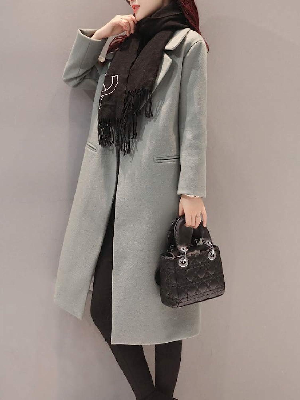 Autumn and Winter Woolen Coat, Ladies Warm Cotton Jacket, Autumn and Winter Woolen Long Solid color Simple Elegant Coat Woolen Coat, Ladies Autumn and Winter Windbreaker XQY