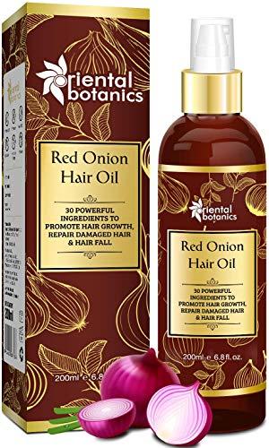 Oriental Botanics Red Onion Hair Oil, With 30 Oils & Extracts, Argan Oil, Castor, Bhringraj, Almond Oil (No Mineral Oil), 200 ml...