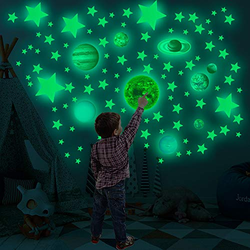 Zemolo Glow in Dark Stars Stickers, 525Pcs 3D Bright Solar System Planets...