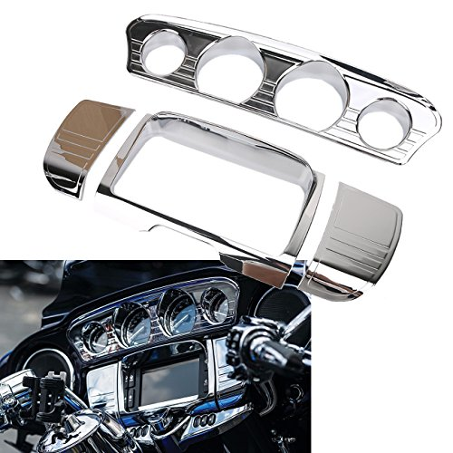 buyinhouse Automotive Replacement Gauge Sets for Harley Touring Tri-Line Gauge Trim Cover Electra Glides Street Glides 2014-2019 Motorcycle Chrome Accessories