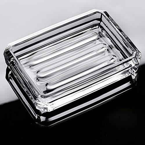 INCETUE, portasapone in vetro trasparente con taglio diamantato rettangolare decorativo moderno design trasparente in cristallo per lavabo, doccia, piano di lavoro
