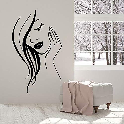 HGFDHG Calcomanías de Pared de Cara de niña salón de Belleza salón de Polvo decoración de Interiores Puertas Ventanas Pegatinas de Vinilo Arte Abstracto Papel Tapiz de Mujer