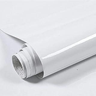 loyouve 壁紙シール 45cmx10m クリスタル白い壁紙 単色 つるつる 耐熱 防油 防カビ 高級感 剥がせる中粘度(貼って剥がせて糊残りなし) キッチン用 家具 台所 リビング 模様替え 防汚 デコレーション DIY ホワイト