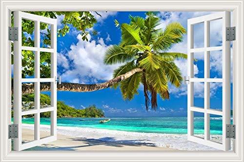 Sommerstrand Sonnenschein Kokosnussbaum Palme Sonnenaufgang Sonnenuntergang Himmel Seewolken Landschaft Landschaft Wandaufkleber 3D Fensteransicht PVC Aufkleber Schlafzimmer Dekor Wandbild Poster