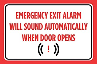 Emergency Exit Alarm Will Sound Automatically When Door Opens Red Black Print Notice Horizontal Poster Warning Caution