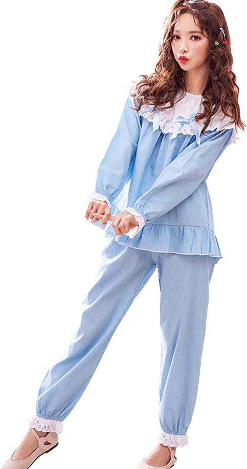 Nightgowns Sleepwear Females' Loose Cotton Pajamas Light bluee Lace Long Sleeves Nightgowns Two Pieces Set Ladies' Popular Gifts Sleepwear (color   bluee, Size   L)