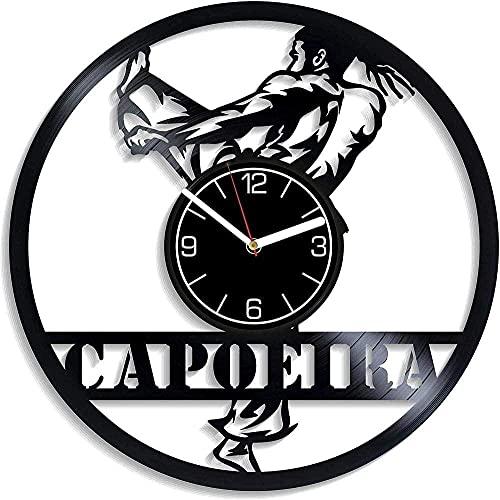 XYVXJ Capoeira Vinilo Reloj de Pared Disco de Vinilo Reloj de Mesa Colgante de Pared decoración del hogar única habitación Regalo Hecho a Mano