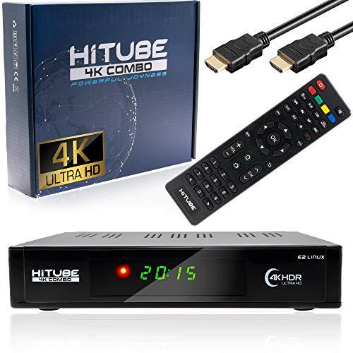 Xaiox HiTube 4K UHD E2 Linux Combo Sat- Kabel- DVB-T2 Receiver mit DVB-S2x und DVB-C/T2 Tuner, HDTV, H.265, PVR, HDR,WLAN, HDMI Kabel [vorprogrammiert für Astra & Hotbird]