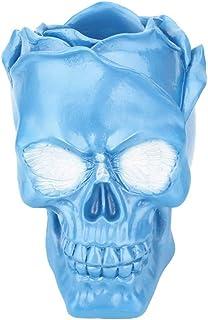TOYANDONA Forma de cráneo pluma portaescobillas contenedor de almacenamiento del cráneo de escritorio creativo cráneo coleccionable ornamento mesa contenedor (azul)