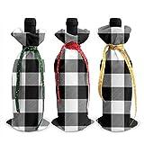 3pcs sacs de bouteille de vin, sac fourre-tout de Noël à carreaux de buffle noir pour mariage, cadeaux de fête, fournitures de fête de Noël, de vacances et de vin