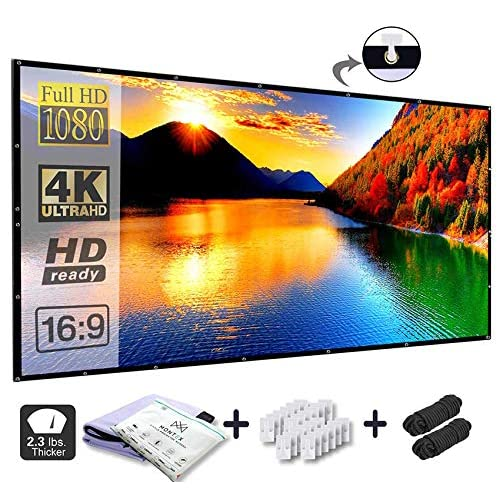 MonTex 120 inch Projection Screen 16:9 HD Foldable Anti-Crease Portable Projector Movie Screen for Home Theater - Outdoor- Indoor Supports Double Sided Projection