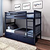 Max & Lily 187201-131 Solid Wood Twin Bed Storage Drawers, Blue Bunk, Twin/Twin