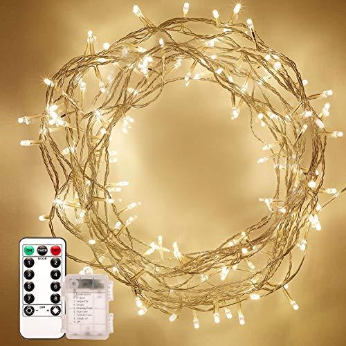 Fulighture LED Lichterkette,LED Lichterkette,10m 100er LED Lichter mit 8 Modi Innen und Außenbereich,IP65 Wasserdicht mit Fernbedienung,Warmweiß Lichterkette für Party,Hochzeit für Innen und Außen