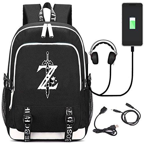 YOYOSHome The Legend of Zelda Japanischer Anime-Cosplay-Tagesrucksack, Büchertasche, Laptoptasche, Rucksack, Schultasche, mit USB-Ladeanschluss