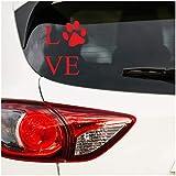 Pegatina con texto 'Love', 10 x 13 cm, para coche, moto, caravana, coche, huella de perro, huella de perro, gato, color rojo carmín K056