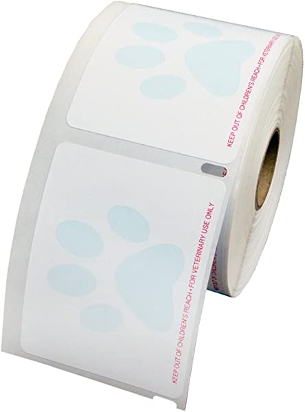 Veterinary Prescription Labels With Paw Print And Warning 2 3 4 X 2 1 8 500 Labels Per Roll 1 Roll Per Package