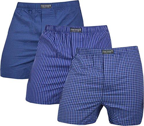 normani 3 x Herren Web Boxershorts aus Reiner Baumwolle Farbe Navy Größe S
