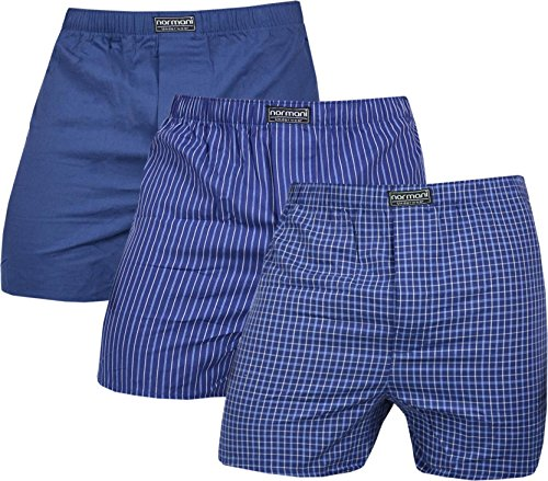 normani 3 x Herren Web Boxershorts aus Reiner Baumwolle Farbe Navy Größe L