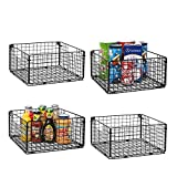X-cosrack Foldable Cabinet Wall Mount Metal Wire Basket Organizer with Handles - 4 Pack, 12' x 12' X 6'Farmhouse Food Storage Mesh Bin for Kitchen Pantry Laundry Closet Garage Patent Applied