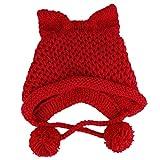 nengzhuzu Women Winter Chunky Knit Beanie Hat Cute 3D Cat Ears Windproof Warm Earflap Cap