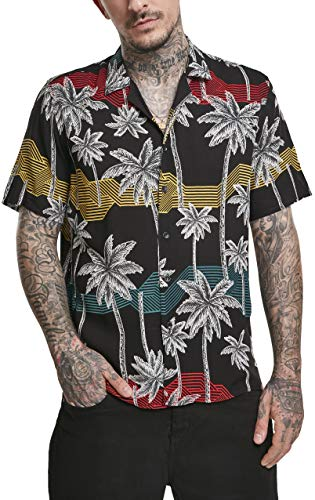 Urban Classics Herren Palm Tree Resort Hawaii-Hemd T-Shirt, Black/Palmtree, XL