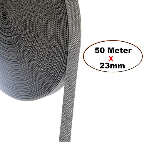 TUKA-i-AKUT 50 m Rolladengurt, 23mm x 50m Rolle Stabiler Gurtband für Rollladen, speziell verstärkte Webkanten, hohe Reißfestigkeit Scheuerfestigkeit, UV Beständigkeit, Grau, TKB5200 Grey