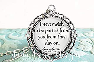 Pride and Prejudice- Book Necklace- Jane Austen Gifts- Bookish Gifts- I never wish to be parted from you from this day on