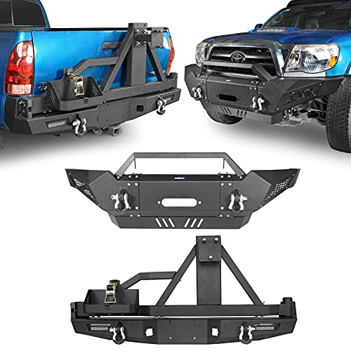 Hooke Road Tacoma Metal Front Winch Bumper & Rear Bumper w/Tire Carrier Compatible with Toyota Tacoma 2005-2015 2nd Gen Pickup Truck