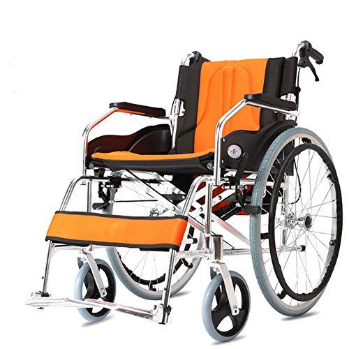 Amimilili Faltrollstuhl Leichter Rollstuhl Leichtgewichtrollstuhl Sitzbreite 50 cm,Orange
