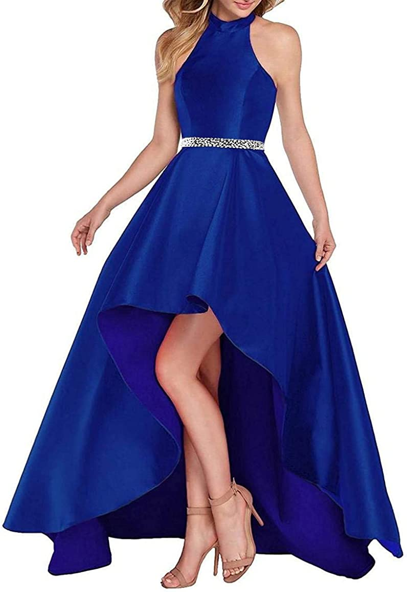 Lamosi Women Halter High Low Beaded Prom Formal Dress Long Satin Evening Homecoming Party Gown