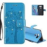COTDINFOR LG V30 Hülle für Mädchen Elegant Retro Premium PU Lederhülle Handy Tasche mit Magnet Standfunktion Schutz Etui für LG V30 Blue Wishing Tree with Diamond KT.