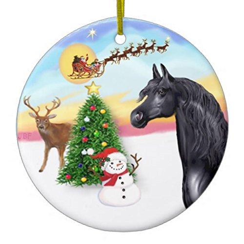 Dant454ty The Take Off - Adornos de cerámica para árbol de Navidad, diseño de Caballo árabe, Color Negro