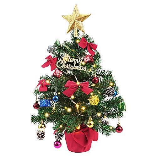 LUNSY Weihnachtsbaum WeihnachtsDeko künstlicher mit Dekoration Lichterkette mehr Weihnachtebaumschmuck 60 cm Mini Tannenbaum für Raum, Tisch, Boden Alles WeihnachtsAtmosphäre