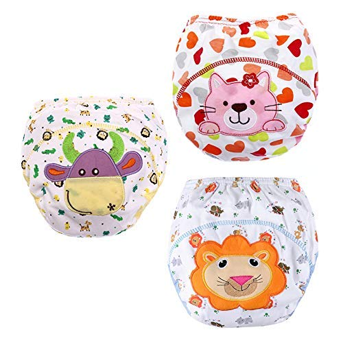 3 Pack Baby Toddler Potty Training Pants Reusable Washable Underwears Diapers- size XL(100) for 18-36 months