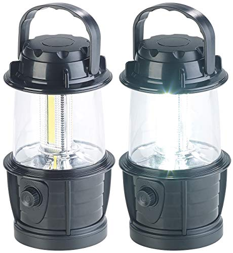 PEARL Camping Licht: 2er-Set dimmbare LED-Laternen, 3 COB-LEDs, Batteriebetrieb, 3W, 140 lm (Camping LED)