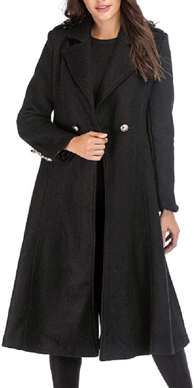 Aooword Womens LongJacket Trench Coat Woolen Coat Notch Lapel Patch Wrap