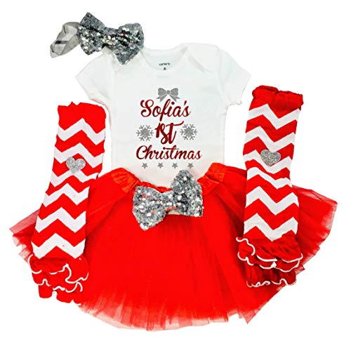 Funmunchkins Baby Girl 1st Christmas Outfit, First Christmas Outfit, Personalized with Name (Short Sleeve NB) Red, White