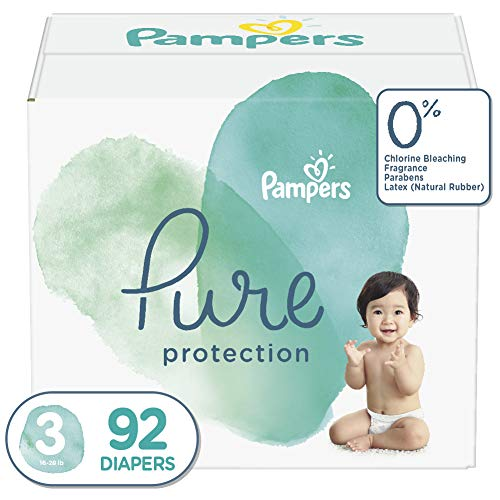 Diapers Size 3, 92 Count - Pampers Pure Disposable Baby Diapers, Hypoallergenic...