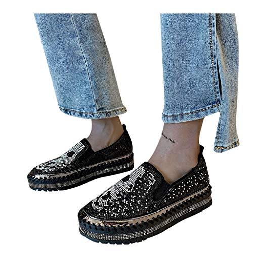 Dasongff Damen Plateau Sneaker Bequeme PU Espadrilles Plateau Espandrillos mit Keilabsatz Atmungsaktive Low Top Strass Glänzend Slippers Freizeitschuhe Elegant Flache Schuhe Loafer