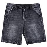 QioJu-jeans Pantalones Cortos de Mezclilla Sueltos para Hombres jóvenes de Gran tamaño para Hombres gordos y Fertilizantes para Aumentar los Pantalones elásticos de Cinco Puntos, Azul Negro, 42