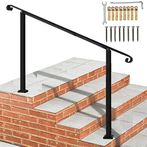 Metty Metal Outdoor Stair Railing,Black Handrails for Outdoor Steps,4 Step Handrail Fits 1 to 4 Steps Mattle Wrought Iron Handrail,Hand Rails for Outdoor Steps Black