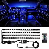 4pcs Tiras LED Coche, bedee Luz Interior Coche 72 Led RGB 5050 Impermeable, el Color de la Decoración de la Lámpara para coche, Multi DIY Color Música Auto Interior Atmósfera Led Iluminación