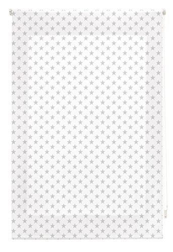 Blindecor Stars Estor Enrollable, Tela, Blanco con Estrellas Gris, 110 x 180 cm